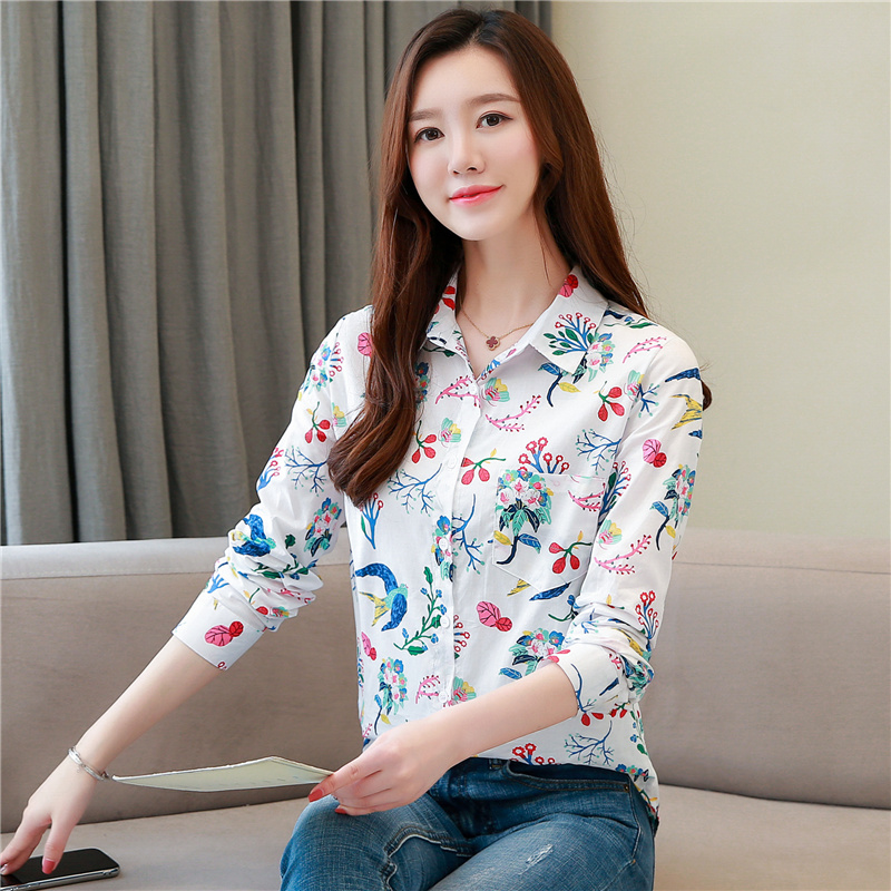 Women Shirts Korean Fashion Print Shirt Plus Size Elegant Floral Blouses Womens Tops and