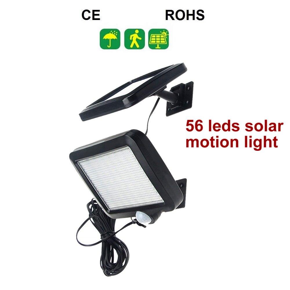 56 LEDs luces de energía Solar al aire libre móvil sin cables Sensor de seguridad impermeable focos de pared farola lámpara con cable de 5M Luz LED de calle 100W 220 V, reflector de pared, luz exterior para jardín, calle, calle, camino, lámpara de inundación IP65 impermeable