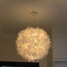 Современная Подвесная лампа с перьями E27, держатель для лампы, Сказочная Подвесная лампа, люстра в стиле лофт с гусиным пером для спальни, ст...