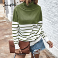 Simplee Striped hohe kragen frauen Pullover Herbst winter casual frauen pullover High street fashion frauen stricken top 2020