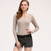 LHZSYY 2019 Autumn Winter New Womens Knitted V-Neck Sweater Solid Color Short Tight Elastic Bottoming shirt Warm Wild Pullover