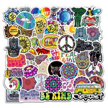 50Pcs Retro Hippies Stickers Love and Peace for Motorcycle Laptop Suitcase Skateboard DIY Diary Stationer PVC Waterproof Sticker