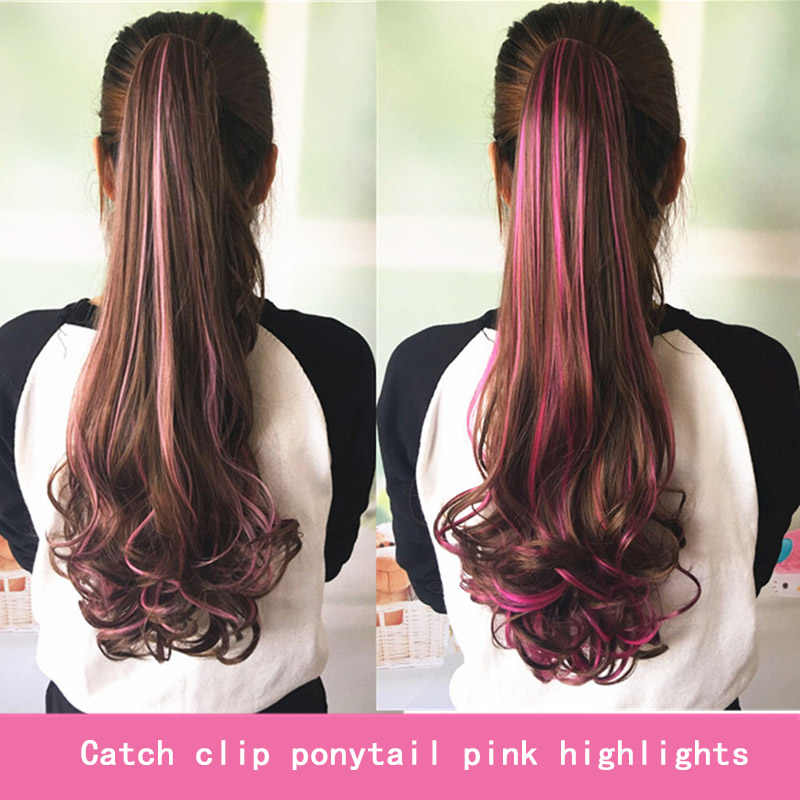 WEILAI Wig ponytail big wave curly ponytail female pear flower roll grip type highlights color roll ponytail claw clip