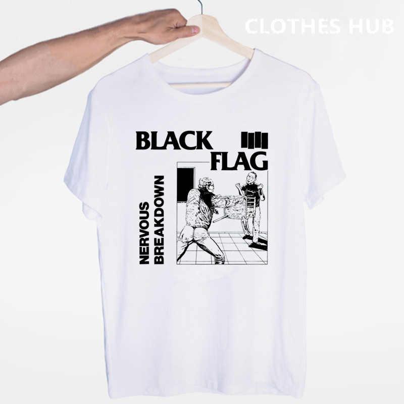 Siyah bayrak T-shirt yaz o-boyun kısa kollu Punk Rock Band Henry Rollins büyük barlar Tshirt