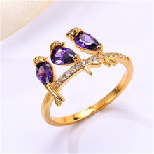 цена на New Wish Bird Ring with Color Crystal Zircon Bird Silver Ring Wedding Rings Rings for Women