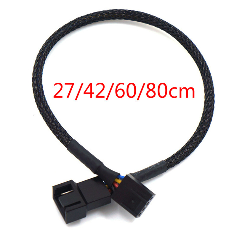 1pc PWM Extension Cable Mainboard CPU 4 PIN Fan 4P Adapter Cable Computer Case 4 PIN Power Cables Connectors 27/42/60/80cm(China)