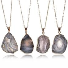 Natural stone pendant necklace  sweater chain