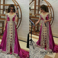 Fuchsia Beaded Muslim Long Evening Dresses Luxury Dubai Moroccan Kaftan Dress Long Sleeves Formal dress Evening Party gown