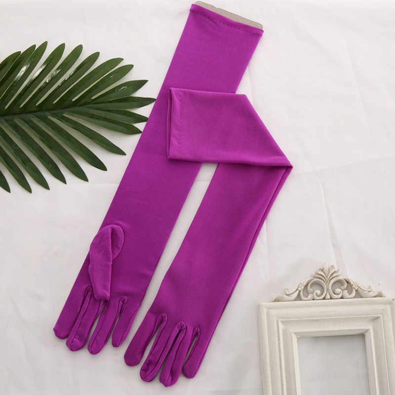 Sposa Fuchsia Satin Pink Glove Long Bridal Gloves Yellow Lt. Blue Opera Length Women Dance Party Wedding Gloves Finger Guantes
