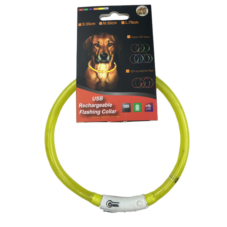 Night Dog Useful Product LED Pet Silica Gel Neck Ring Chargeable Dogs And Cats Night Light Neck Ring USB Luminous Collar