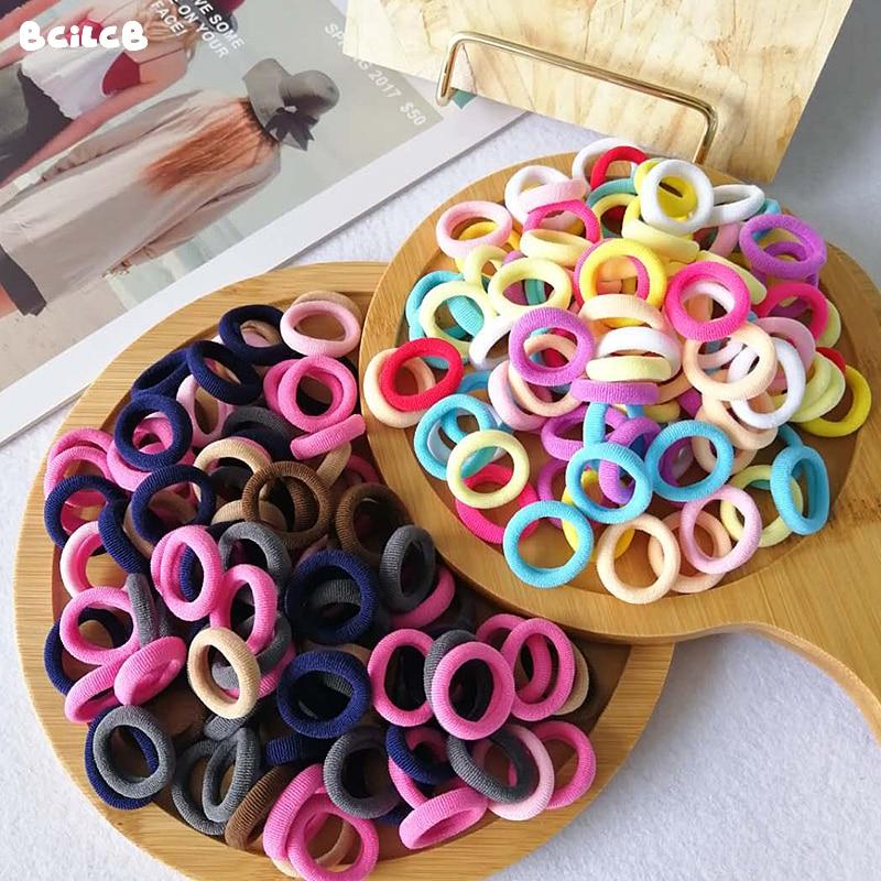 Kid Small Hair Bands Baby Girl Children Headbands Colorful Elastic Hair Tie Nylon Scrunchie Hair Rope 50/100pcs Hair Accessories