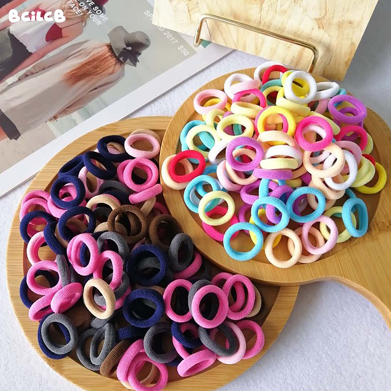 Kid Small Hair Tie Baby Girl Children Headbands Colorful Elastic Hair Bands Nylon Scrunchie Hair Rope 50/100pcs Hair Accessories