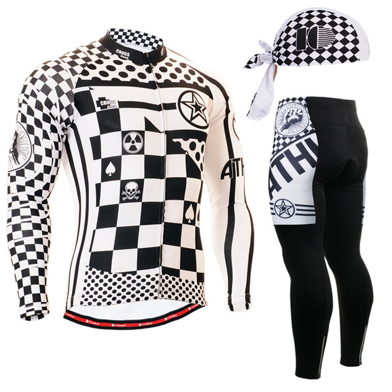 2020 cycling long sleeve jersey full length trousers white and black checked Autumn Winter Bicycle Clothing