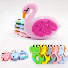 Silicone Dinosaur Food-Grade Bpa-Free Cartoon-Animals Rod Flamingo Shower-Gifts