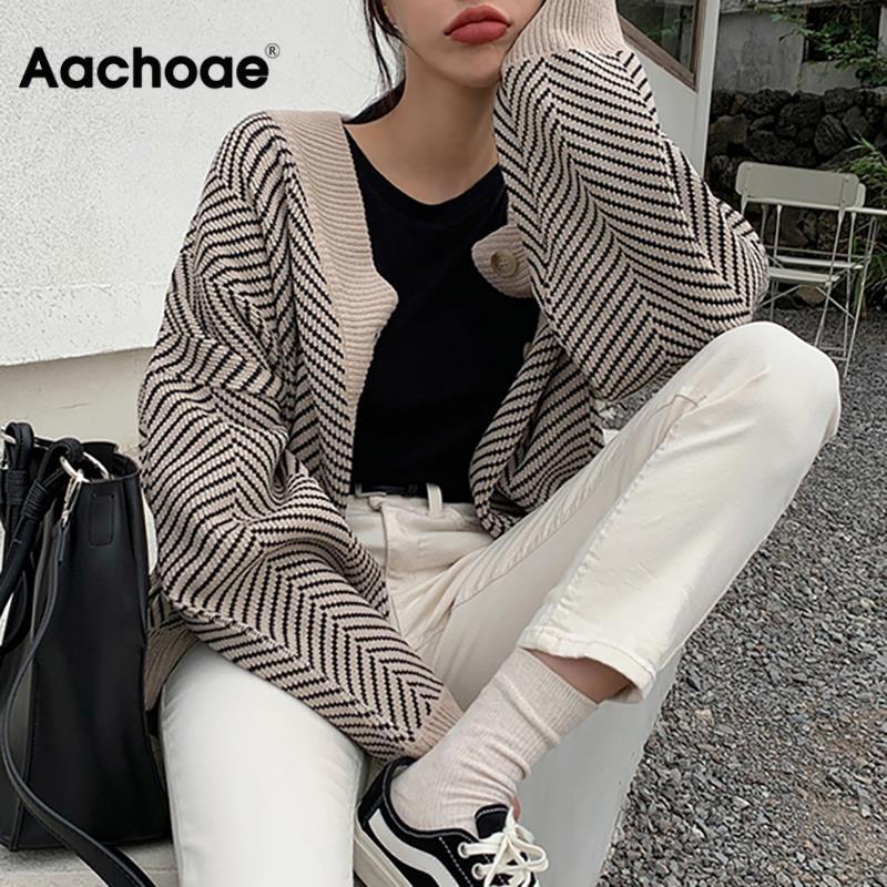 סוודר פסים סרוגים נשים אופנה טלאים למעלה סתיו חורף 2020 ארוך שרוול Outwears מקרית V צוואר כפתורי מעיל