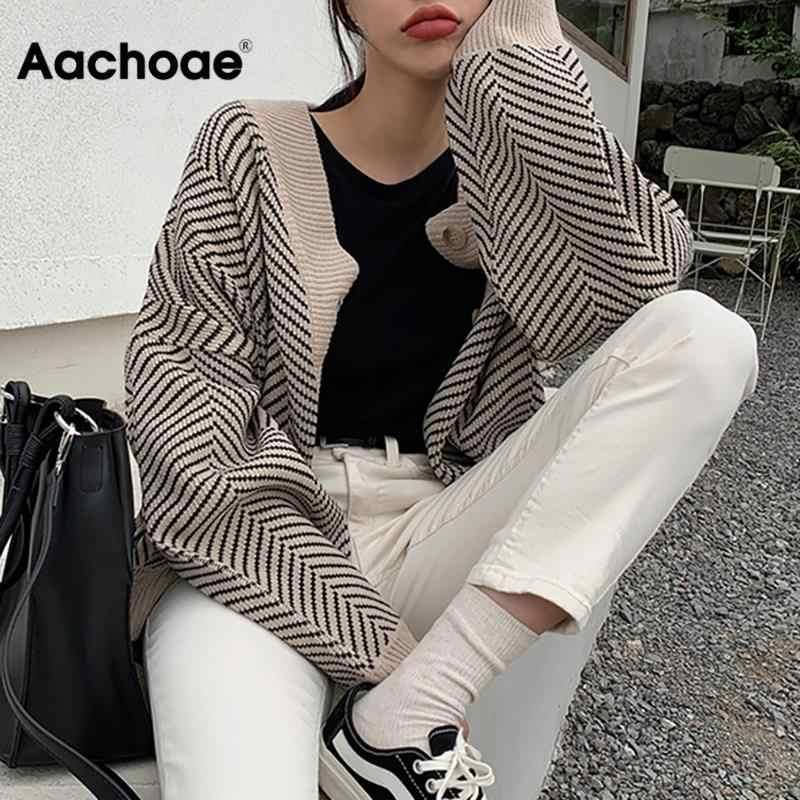 Aachoae çizgili çizgili hırka kazak kadın moda Patchwork üst bahar 2020 uzun kollu rahat yıpratır V boyun düğme ceket
