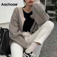 Malha listrado cardigan camisola feminina moda retalhos topo outono inverno 2020 manga longa casual outwears v pescoço botões casaco