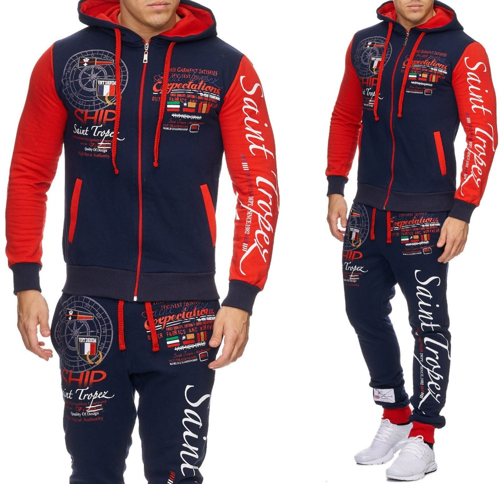 Zogaa 2019 New Tracksuit Men Set Sporting 2 Pieces Sweatsuit Men Clothes Printed Hooded Hoodies Jacket Pants Track Suits Male