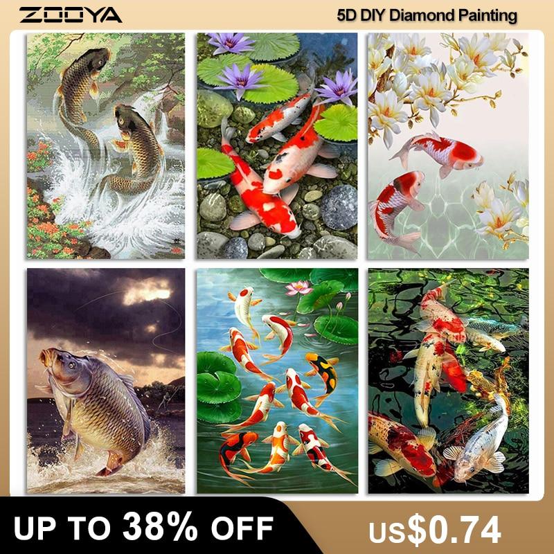 Алмазная мозаика ZOOYA 5D для рукоделия, алмазная вышивка кои рыбы, алмазная Вышивка Животных, рыбы R326|Алмазная роспись, вышивка крестом|   | АлиЭкспресс