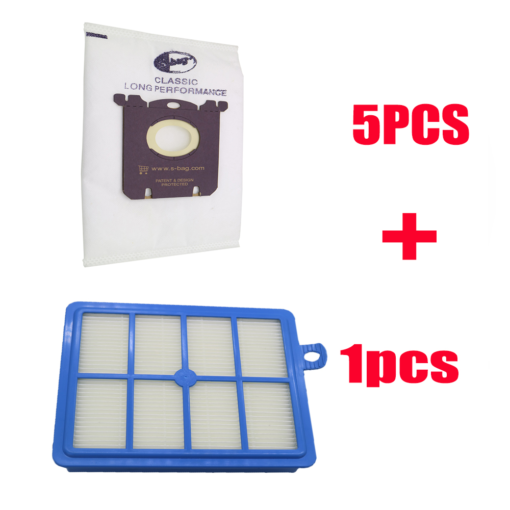 6pcs/set Free Shipping 1pc Replacement Hepa Filter 5pcs Dust Bags For Electrolux Vacuum Cleaner Filter Electrolux Hepa And S-BAG