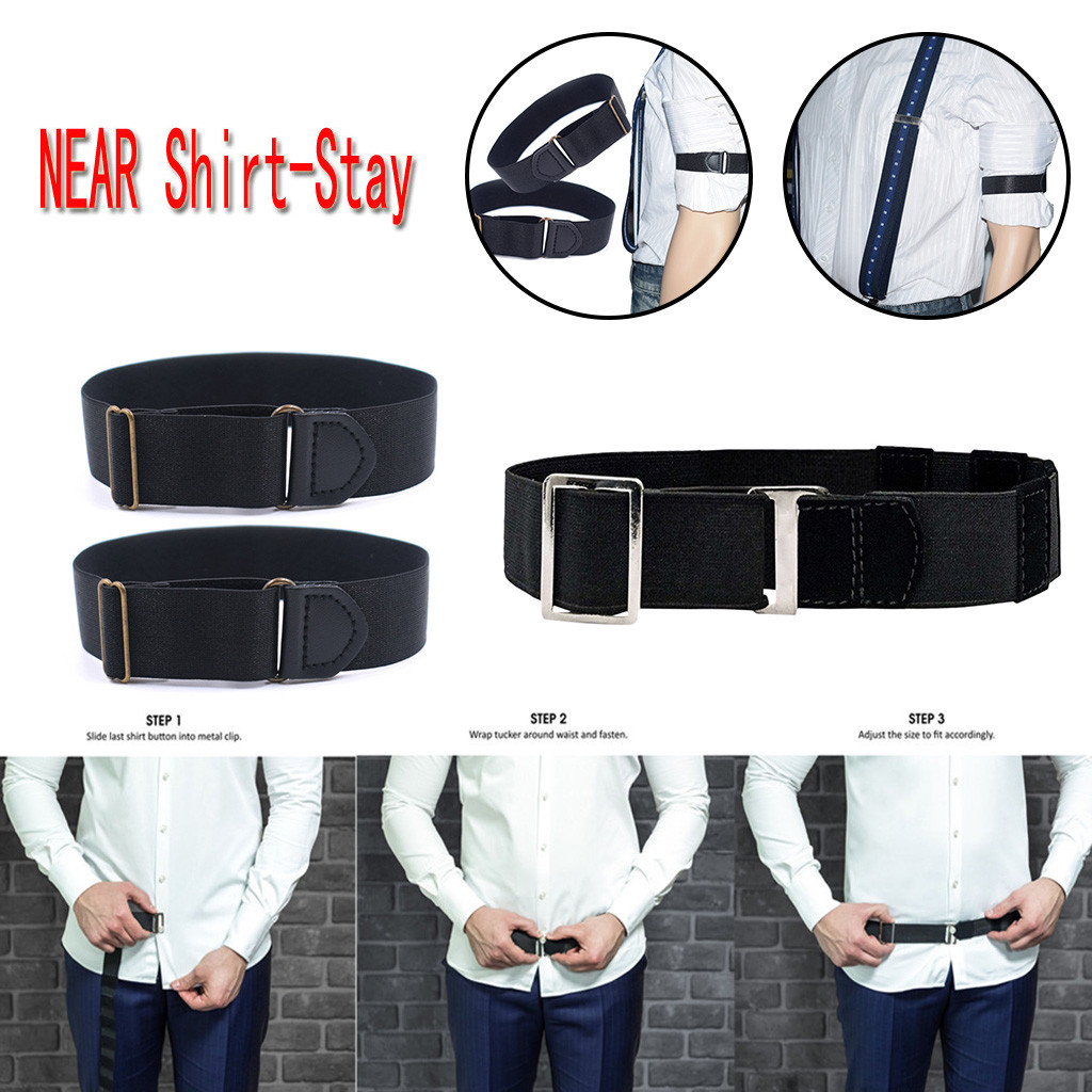Adjustable Suspenders Near Shirt-Stay Best Shirt Stays Bts . Black Jartiyer Tuck It Cuff Shirt Tucked Men Women Fashion Braces