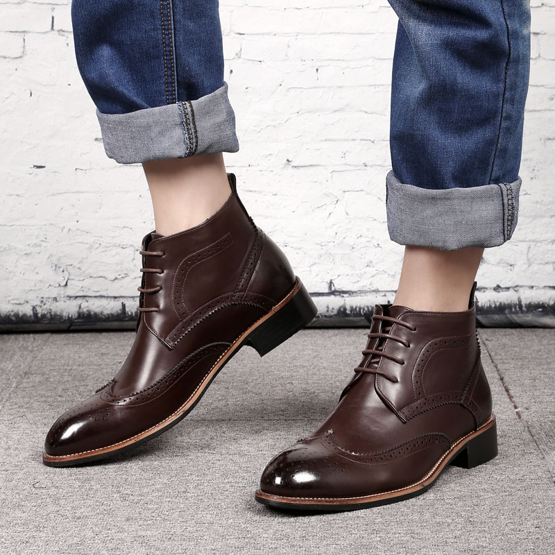 2019 Autumn Men Ankle Boots Rubber Fashion High Quality Luxury Chelsea Boots Men #PZ1365