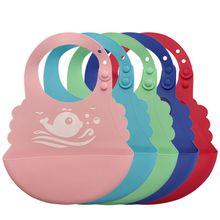 Waterproof Baby Silicone Bibs Infant Feeding Food Catcher Pocket Saliva Towel
