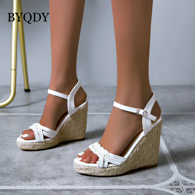 BYQDY 2020 Open Toe Ankle Strap Platform Wedges Women Sandals Narrow Band High Heels Gladiator Lady Shoes Buckle Summer Sandal