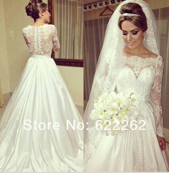 Custom Hot Sexy Casamento Lace Long Sleeve Wedding Dress Bride Gown Satin A-line Muslim Vestido De Noiva 2015 Free Shipping