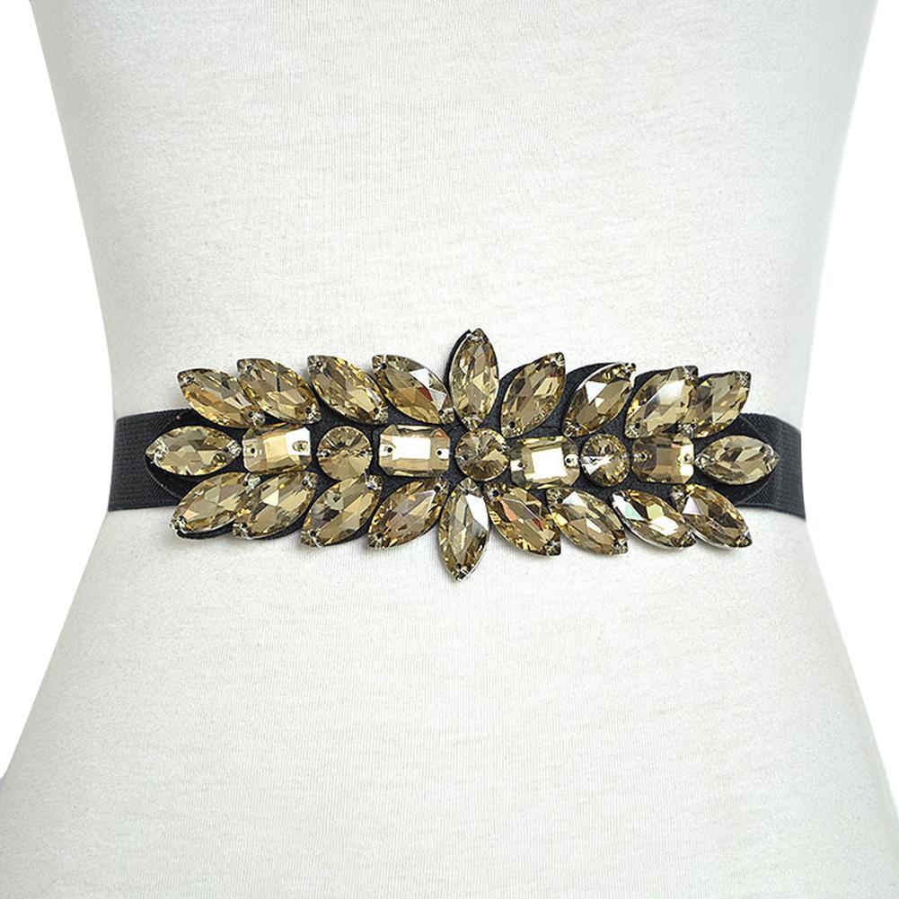 Women Belts Luxury Brand Wide Floral Rhinestone Belt Buckles Stretchy Elastic Waist Belt Fashion Design Waistband For Ladies