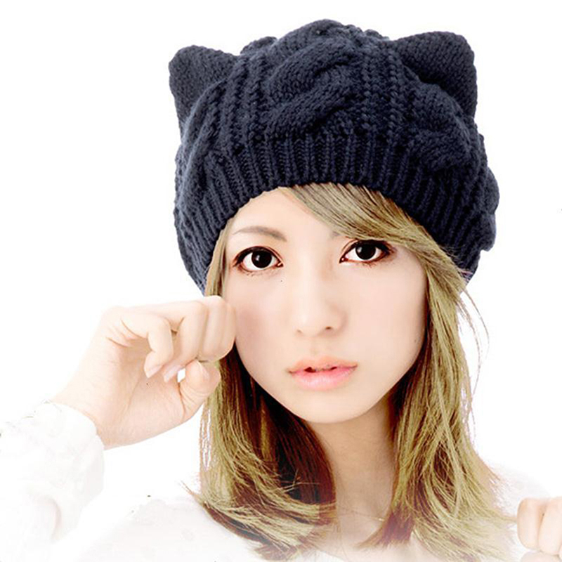 2019 Women Devil Horns Cat Ears Beanie Hat Crochet Knit Cap Winter Autumn Ladies Fashion Knitted Woolen Hats Beanies Warm Caps