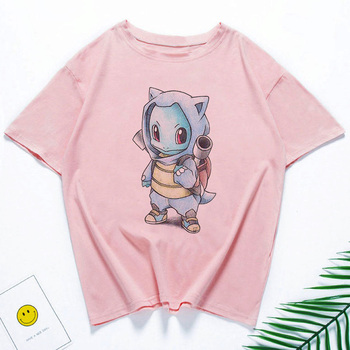 Cartoon T Shirt Women Summer Print Tshirt Harajuku Japanese Kawaii Pokemon Tops Streetwear O-neck Casual Female T-shirt 2