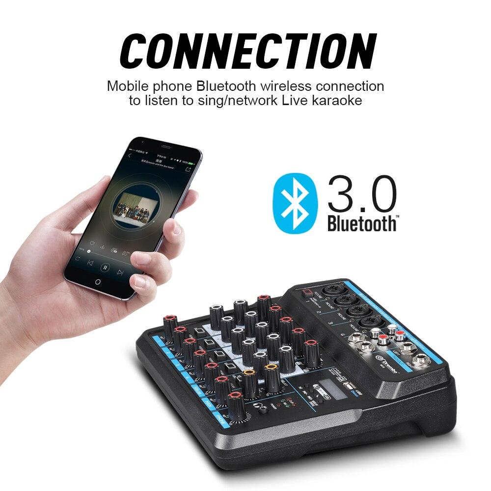 Console de mixage audio numérique portable Drembo 4/6 canaux avec carte son, bluetooth, USB, alimentation fantôme 48V pour enregistrement DJ PC - 5
