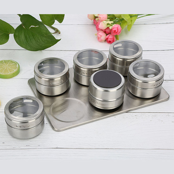 12Pcs/Set Magnetic stainless steel seasoning jar Magnetic Spice Jar Set With Stickers Storage Container Pepper Seasoning Tools фото