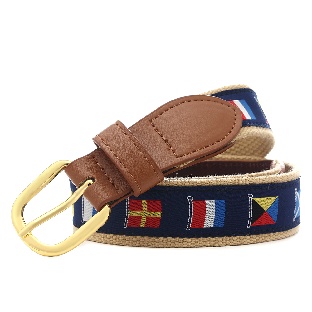 The Latest Leisure Golf Leather + Fabric Belt Is Suitable For Men And Women's Casual Pants