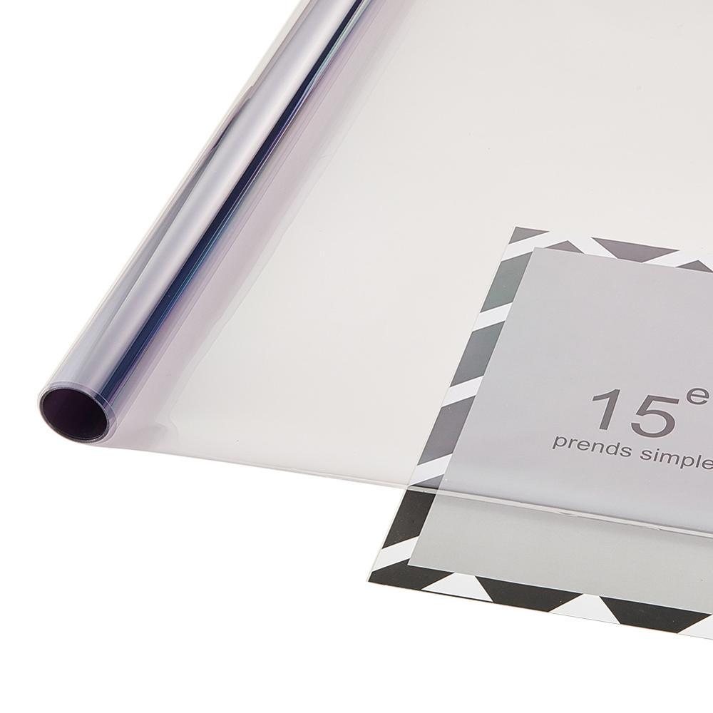 50 см x 3 м VLT 75% серый синий УФ + изоляция цветные плёнки на окна машин 2 слоя на лобовое стекло автомобиля для защиты от прямых солнечных лучей п...