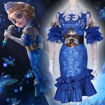 Игра идентичность V Косплей костюмы Survivor Doctor Emily Dyer Косплей Костюм светящаяся кожа платья одежда костюм синий взрослый