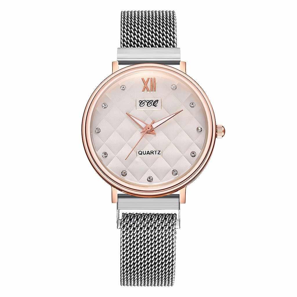 נשים שעונים 2019 למעלה מותג יוקרה קסם עסקי אופנה פלדה Rhinestones Reloj Mujer Zegarek Damski גבירותיי שעון
