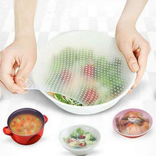 Familysky 4Pcs/set Sealed Silicone Cling Film Fresh Food Cover Wrap Kitchen Stretch Keeping Container Lid Tool