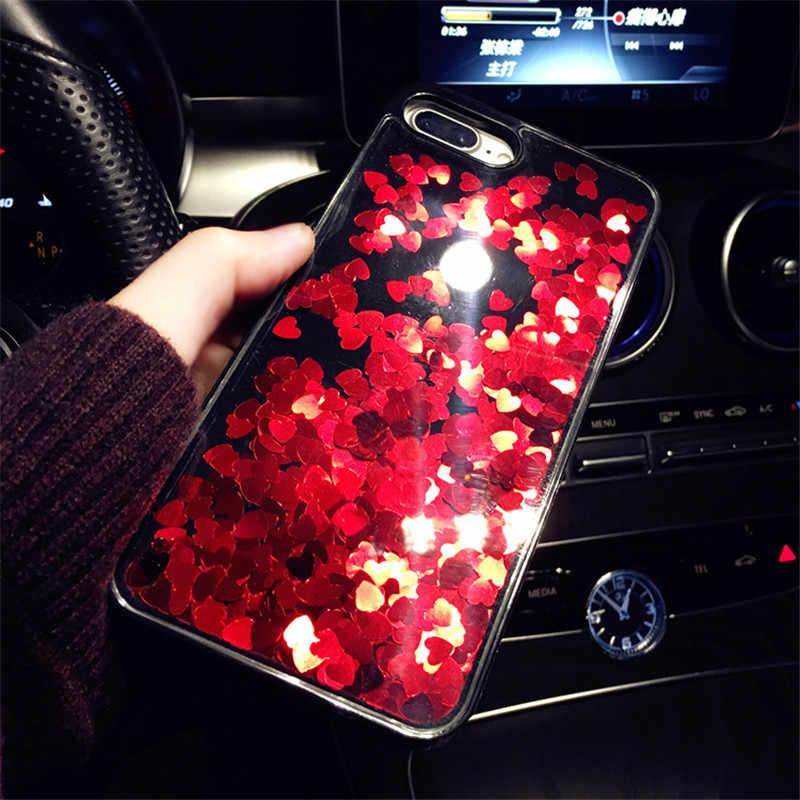 高級動的液体ケース iphone 5 5S 、 SE 6 6S 7 8 プラスかわいい愛スパンコールソフト電話ケース XR XS 最大カバー女性