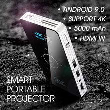 ALSTON C6 Mini projektor DLP 4K Android 9 0 WiFi Bluetooth przenośne kino domowe na zewnątrz dla Smartphone Miracast Airplay tanie tanio Poner Saund Automatyczna korekcja CN (pochodzenie) 4 3 16 9 Focus 854x480 dpi 2000 LUMENÓW 30-120 inches 2000 1 projektor do filmów