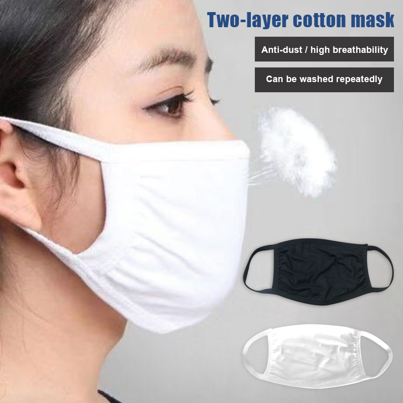 3Pcs Cotton Face Mask Dual Layers Dustproof Earloop Washable Face Mouth Masks Dust Respirator Washable Reusable Masks D88