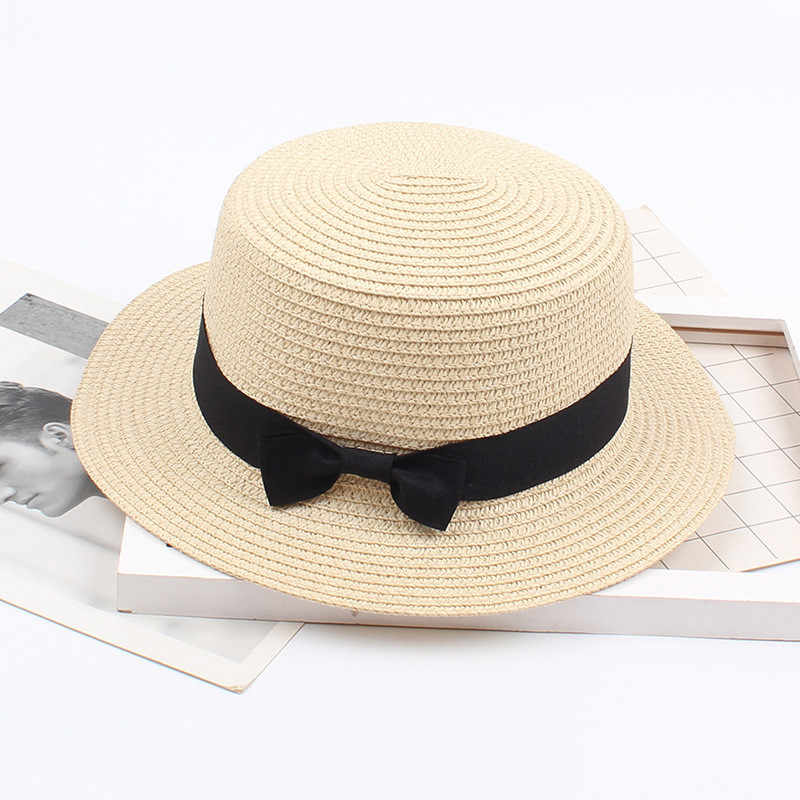 Saman güneş şapkası kadın fötr Gangster plaj kap güneş şapkası bant Sunhat yuvarlak düz üst açık papyon plaj güneş şapkası kapaklar
