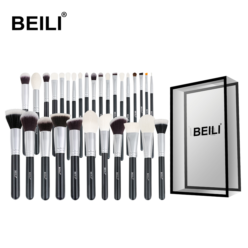 BEILI Black Complete Professional Natural goat hair Makeup Brushes set Foundation Powder Concealer Contour Eyes Blending brush