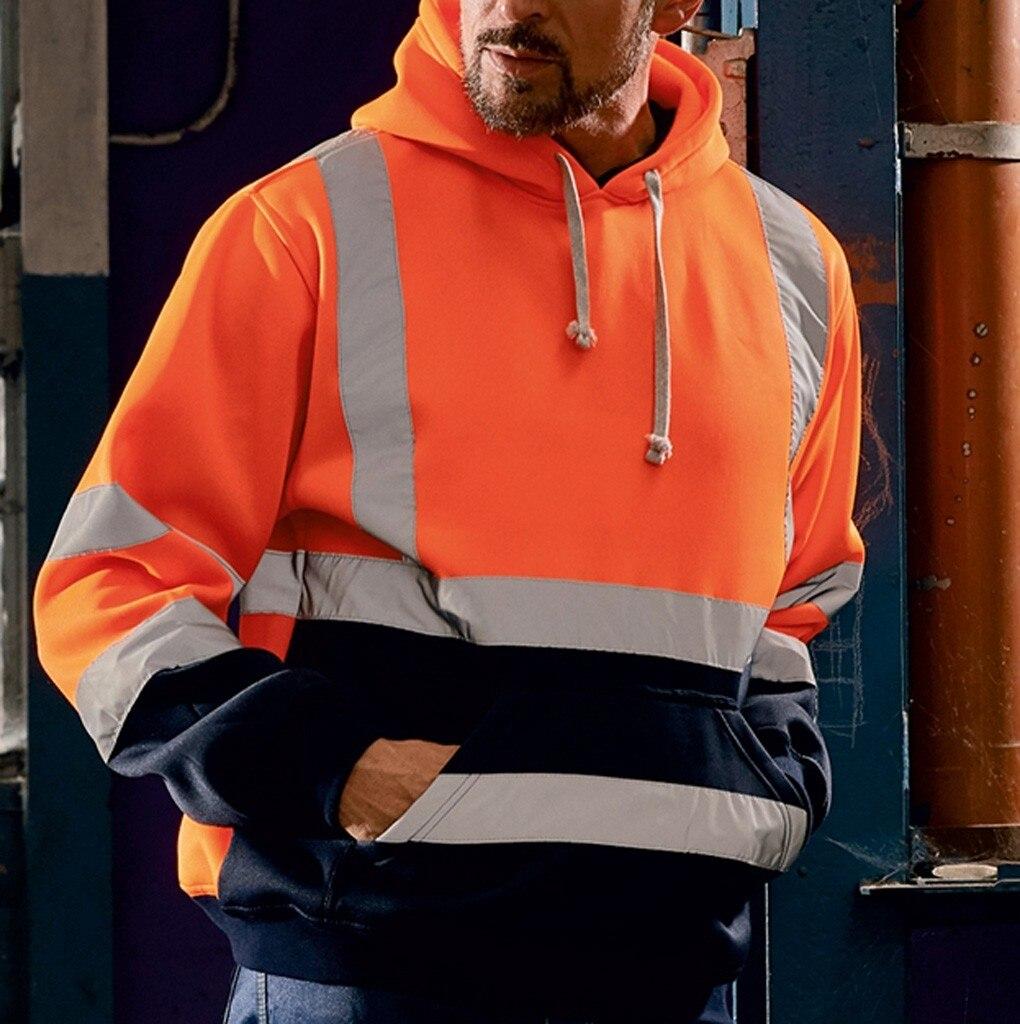 Men Road Work High Visibility Pullover Long Sleeve Sweatshirt Blouse Hoodies Streetwear Sudadera Hombre Plus Size Hip Hop 5XL