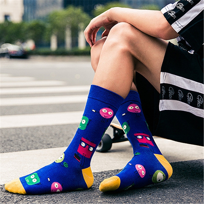 Cartoon Harajuku Happy Socks Men's Funny Combed Cotton Dress Casual Wedding Socks Colorful Novelty Skateboard Socks Women