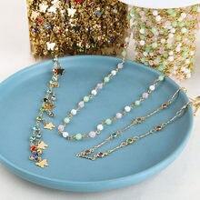 50cm ouro 18k banhado a colar de corrente em massa cristal strass grânulos borboleta corrente para pulseira tornozeleira corrente diy jóias fazendo