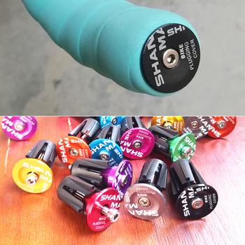 Nowe 9 kolorów są dostępne kierownica rowerowa Cap uchwyty rowerowe rower ze stopu aluminium uchwyt koniec korki części rowerowe tanie i dobre opinie shanmashi Aluminium alloy and plastic 12 cm 2 2cm