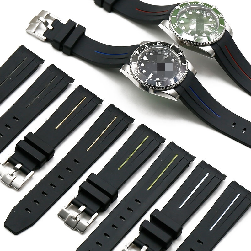 Silicone Watchband 20mm 21mm For Men Watch Rubber Buckle Bracelet Band Strap