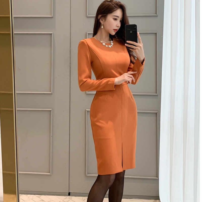 H Han Queen eleganckie ubranie biurowe sukienka ołówkowa kobiety zimowe jednokolorowe wydłużane sukienki OL do pracy płaszcza Bodycon Vestidos